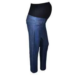 Pregnant women imitation denim stomach lift trousers