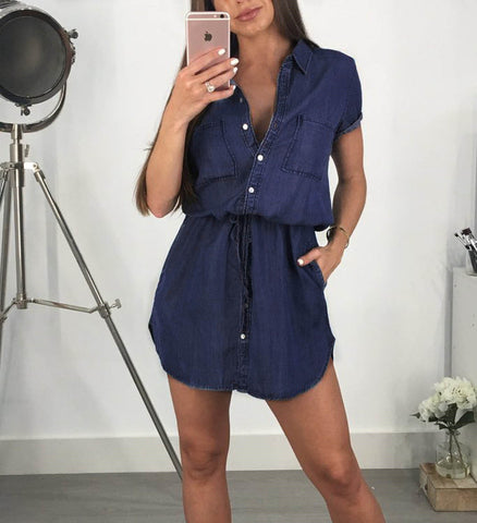 Womens Casual Denim Summer Shirt Dress Ladies Short Sleeve Holiday Long Tops | Edlpe
