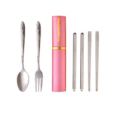 Portable Tableware  Stainless Steel Cutlery Steak Fork Dinnerware Set for Outdoor Travel