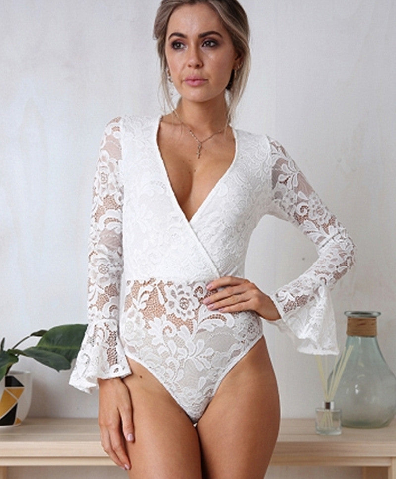Women Long Sleeve V Neck Lace Shirt Bodysuit Leotard Tops Jumpsuit Solid Romper | Edlpe