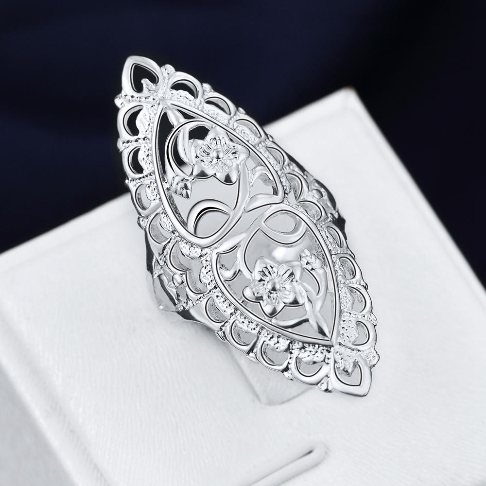 Silver Plated Classic Jewelry Gift For Women Girl Hollow Ring Lovely Wedding Party Band | Edlpe