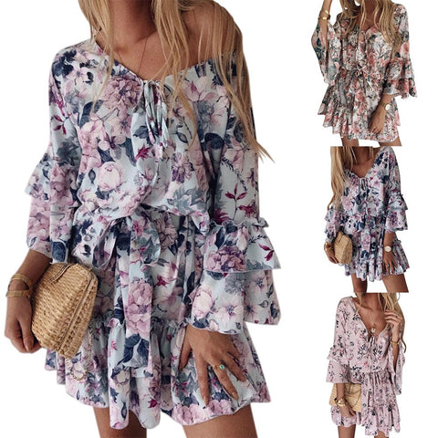 Floral Dress Ladies Casual High Quality Autumn Trumpet Sleeve Long Sleeve Print Dress