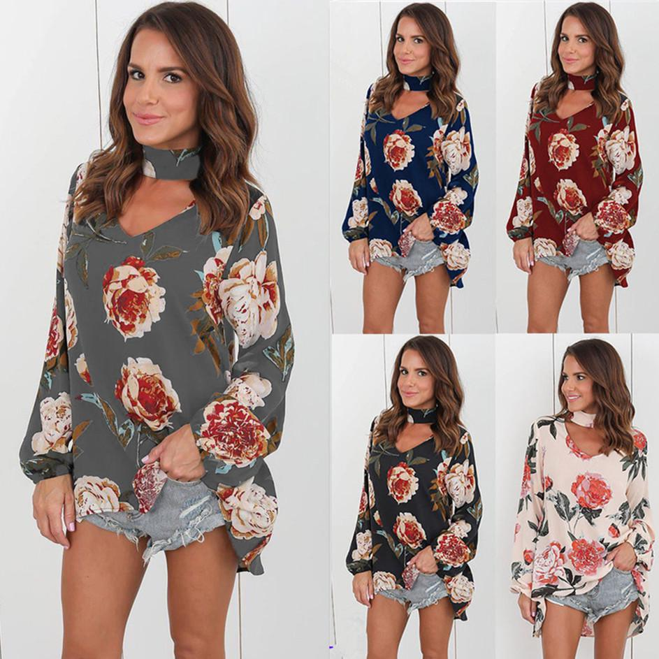 Summer Women Floral Long Sleeve Chiffon Blouse Casual Daily Tops Plus Size Loose Long Tops | Edlpe