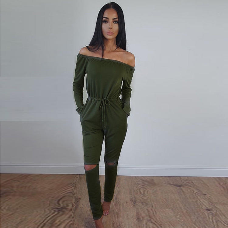 Womens Off Shoulder Long Sleeve Ripped Playsuits Ladies Casual Long Jumpsuit | Edlpe