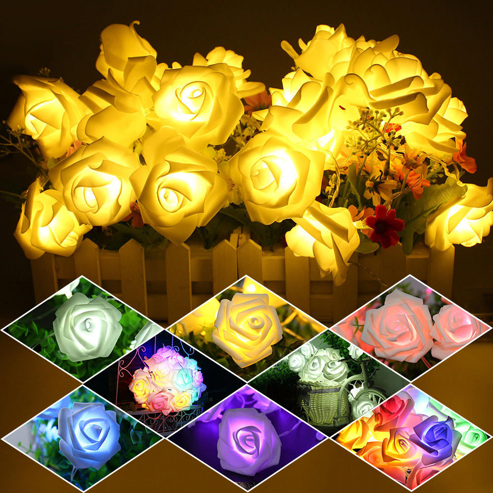 20 Led Rose Flash Led String Lights Battery Wedding Xmas Decor Led Lumineuse | Edlpe