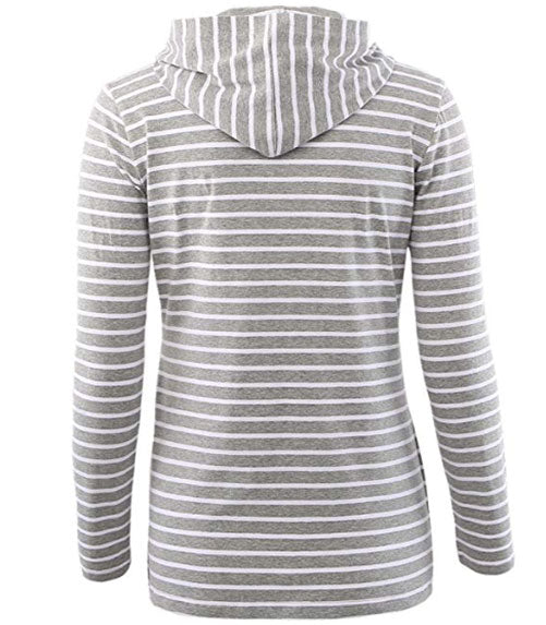 Long Sleeved Striped Breastfeeding Hoodie Tops Nursing Blouse | Edlpe