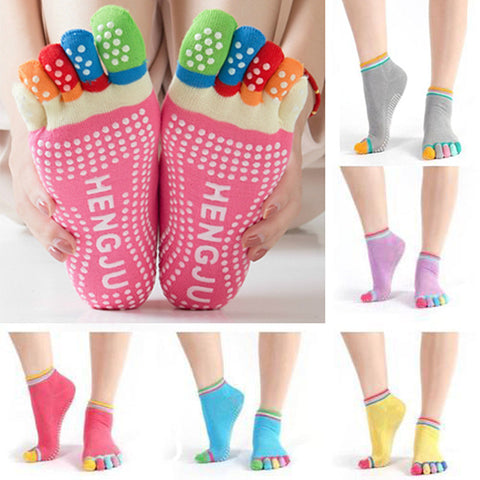 Womens Socks Yoga No Slip Five Toes Socks Separator Massage Rubber Fittness Gym Dance Sport Socks | Edlpe