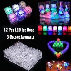 Ice Cubes Color Changing Decor Flash Lights Submersible Liquid Sensor/12 Pc LED