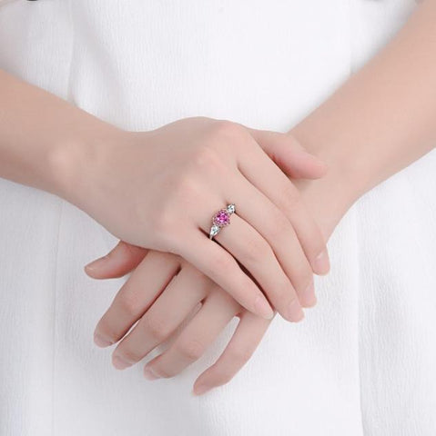 Pink Heart-Shaped Ring Dazzling Color Cubic Zirconia Crystal Party Wedding Finger Bands | Edlpe