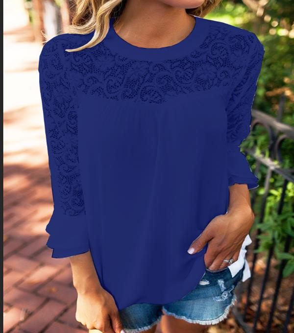 Fashion Women Summer Loose Casual Chiffon 3/4 Sleeve Lace T Shirt Tops Blouse | Edlpe