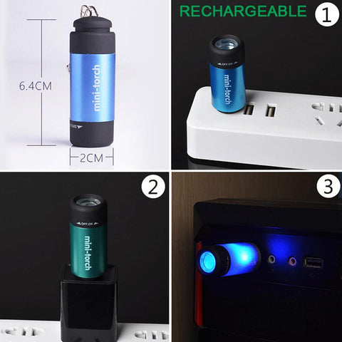 Usb Rechargeable Led Light Flashlight Lamp Keychain Pocket Mini Torch Waterproof | Edlpe