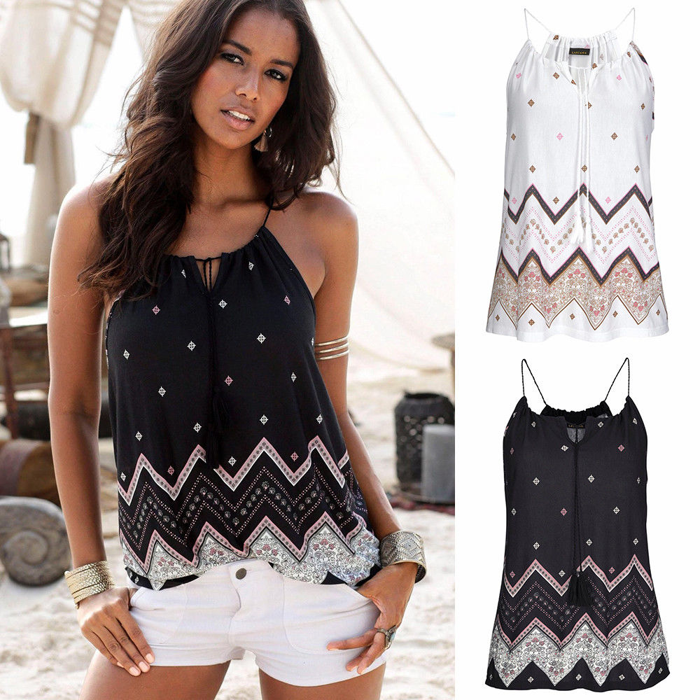 Women Summer Sleeveless Harness Tank Top Floral Lace Up Cami Strappy Top Beach Blouse | Edlpe