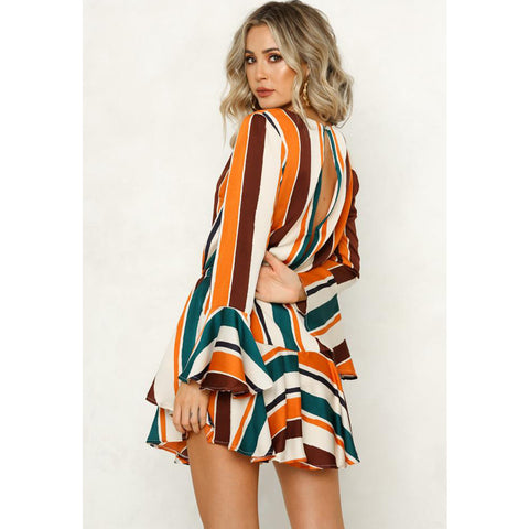 Women V Neck Flared Sleeve Striped Ruffled Mini Dress Ladies Casual Swing Dress | Edlpe
