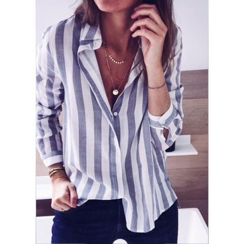 Womens Long Striped Tops Ladies Summer Loose Long Sleeve Casual Linen T Shirt Blouse | Edlpe