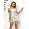 Image of Sexy Women Embroidery Gauze Layers Mini Dress Summer Long Sleeve Beach Party Dress | Edlpe