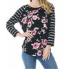 Image of Floral Pattern Breastfeeding Stripe Stitching Long Sleeves Blouse | Edlpe
