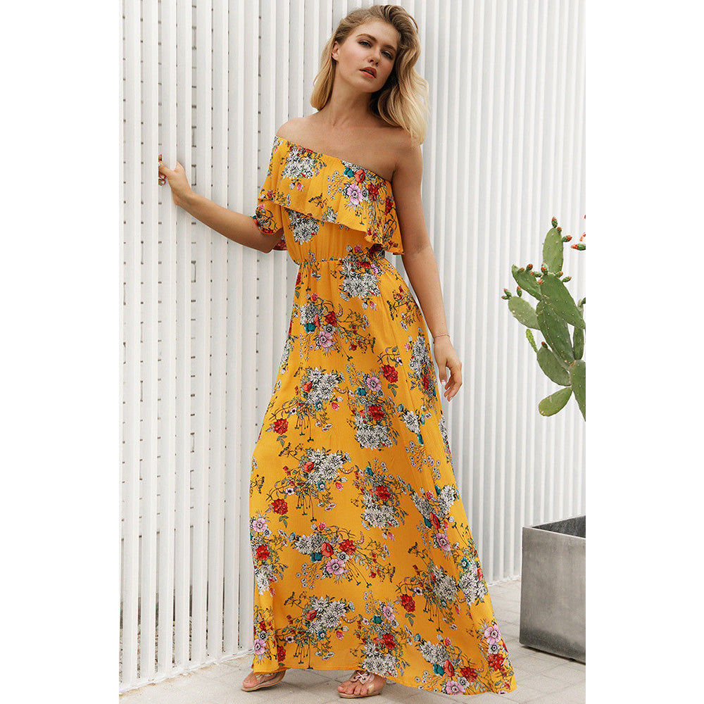 Women Floral Oblique One Shoulder Maxi Long Dress Summer Beach Holiday Sundress | Edlpe