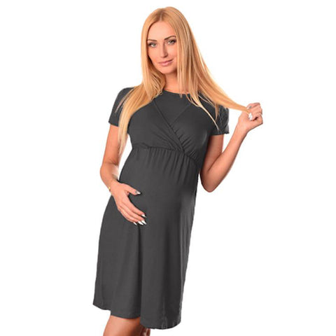 Pure Color Round Neck Nursing Short Sleeves Maternity A-Line Dress | Edlpe