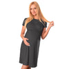 Image of Pure Color Round Neck Nursing Short Sleeves Maternity A-Line Dress | Edlpe