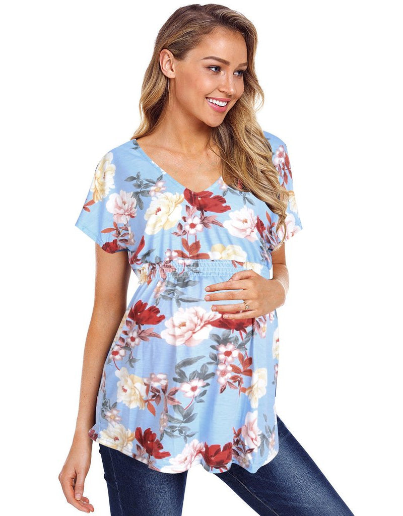 Vintage Scoop Neck Floral Breastfeeding Short Sleeves Maternity Pleated Blouse | Edlpe