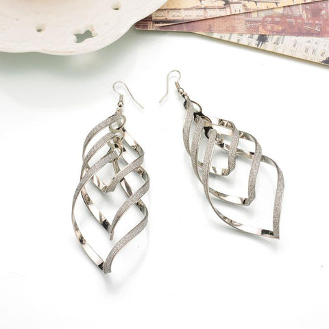 Spiral Curled Earrings Sense Of Wave Curve Drop Earrings Female Jewelry Long Ear Studs | Edlpe