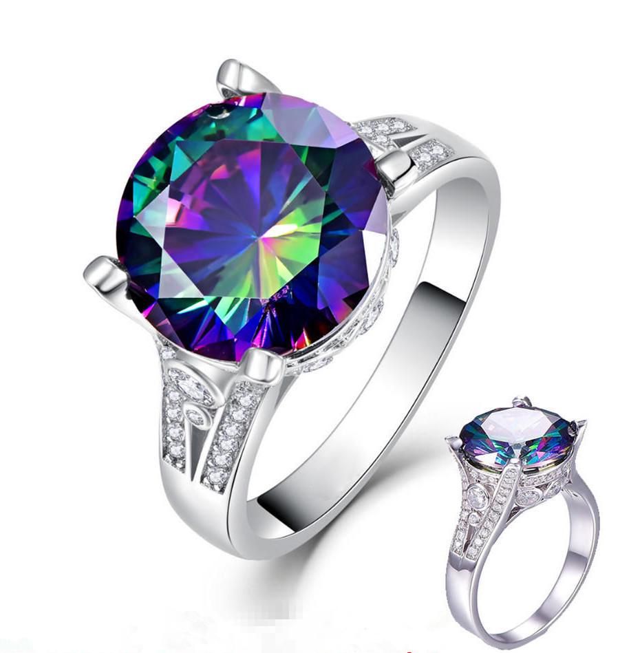 Classic Fire Round Cut Multicolor Mystic Created Crystsal Wedding Jewelry Rings | Edlpe