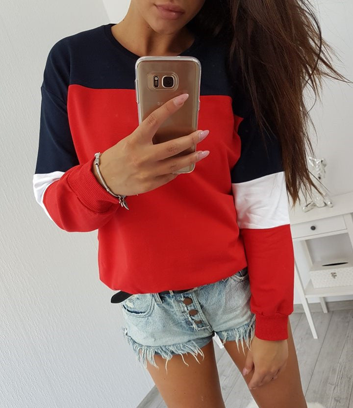 Autumn Womens Casual Long Sleeve Pullover Sweater Patchwork Base Tops Shirt | Edlpe