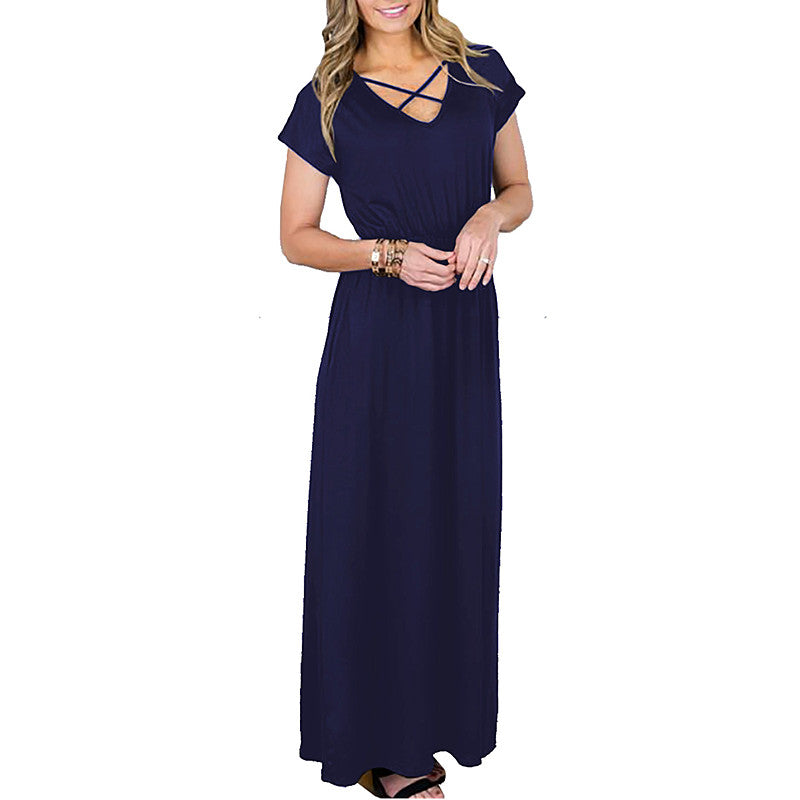Fashion Womens Holiday Cross V Neck Maxi Dress Ladies Summer Beach Party Long Dresses | Edlpe