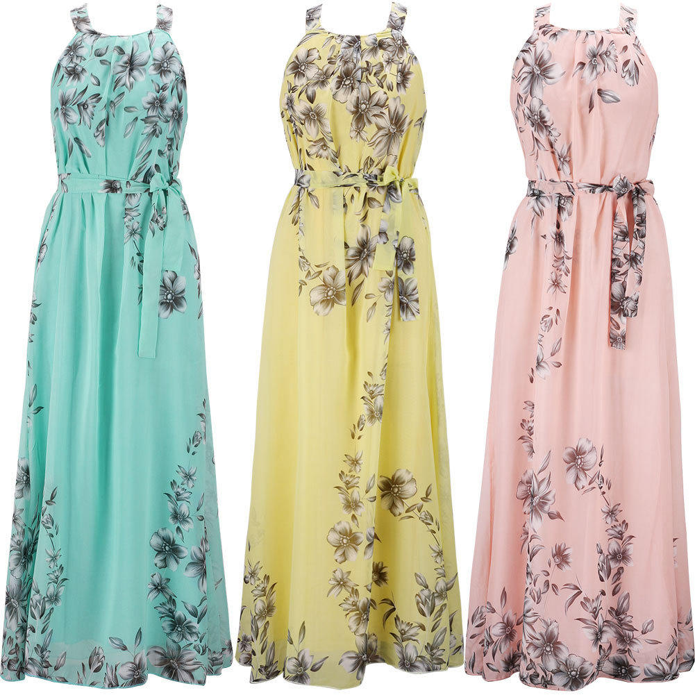 Women Summer Boho Long Maxi Dress Evening Party Beach Dresses Chiffon Dress | Edlpe