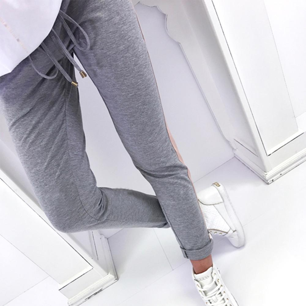 Women High Waist Contrast Color Elastic Casual Long Pants Slim Fit Pencil Trousers | Edlpe