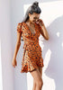 Image of Short Sleeves Funny Print Wrap Mini Dress | Edlpe