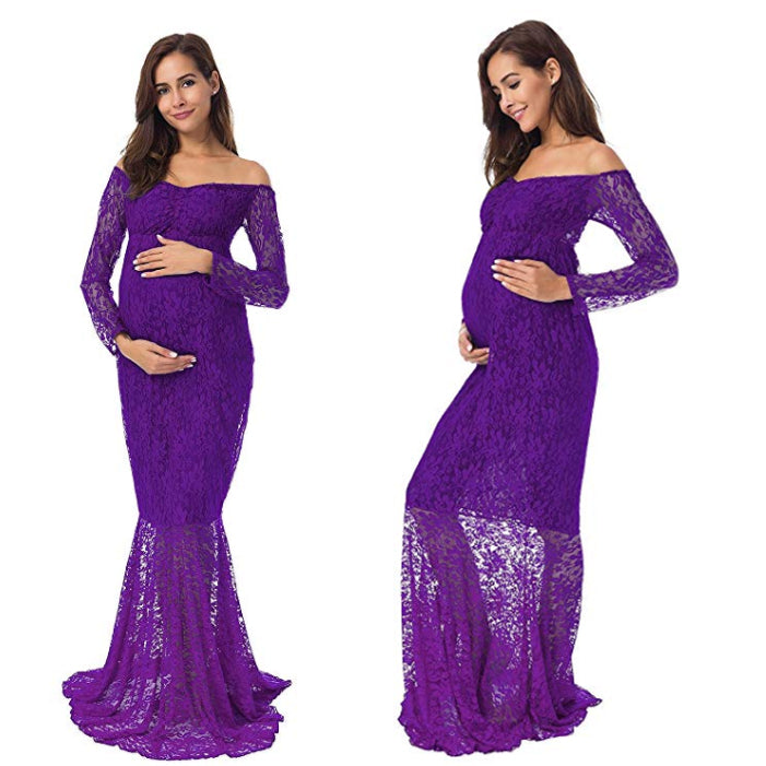 Womens Maternity Photography Photo Shoot Maternity Gown Mermaid Wedding Dress | Edlpe