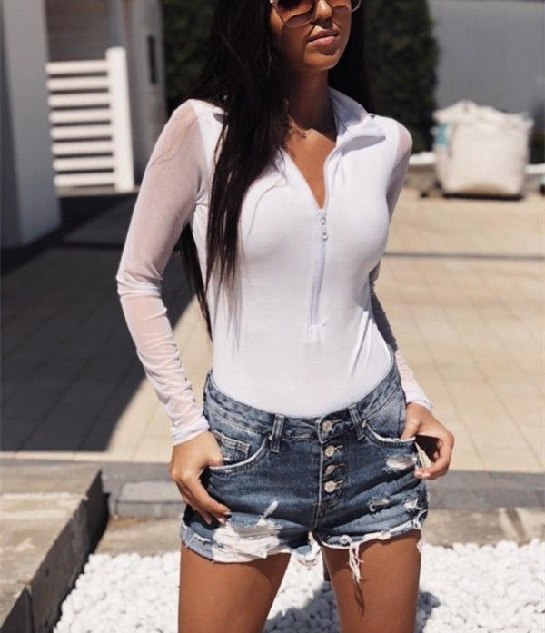 Women See Through Tops Sexy Sheer Leather Crop Top T-Shirt Long Sleeve Blouse | Edlpe