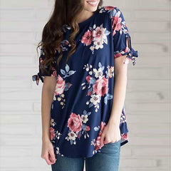 Womens Floral Print Short Sleeve Blouse Ladies Casual Crew Neck Summer Long Top Shirt