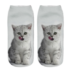 Lovely 3D Print Cotton Ankle Socks Casual Cat Cartoons Cute Art Women Sock Girl