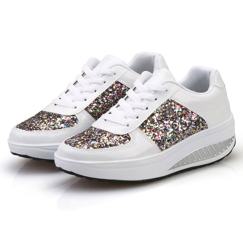 Women Sneakers Golden Sequin Waterproof Ladies Flat Shoes Lace Up Casual Sport Shoes | Edlpe
