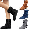 Image of Women Fashion Faux Suede Mid Calf Boots Slouch Side Zip Up Flat Booties | Edlpe