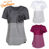 Image of Women Daily Wear Casual Pregnancy Breastfeeding Nursing Top Striped Maternity Clothes Cotton Blouse | Edlpe