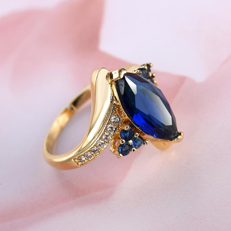 Crystal Zircon Rose Gold Color Blue Zircon Rings Fashion Jewelry | Edlpe