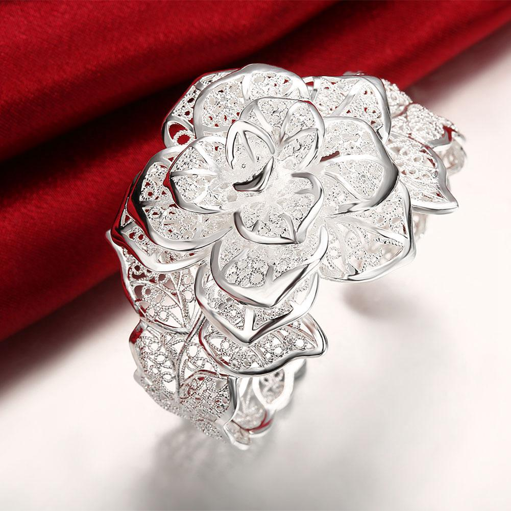 Hyperbole Wedding Jewelry Rose Flower Bangle Bracelet For Women | Edlpe