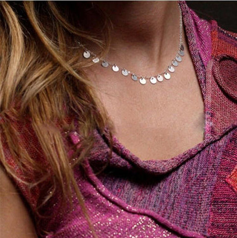 Round Sequins Short Choker Chain Necklace Bright Holiday Party Surprise | Edlpe