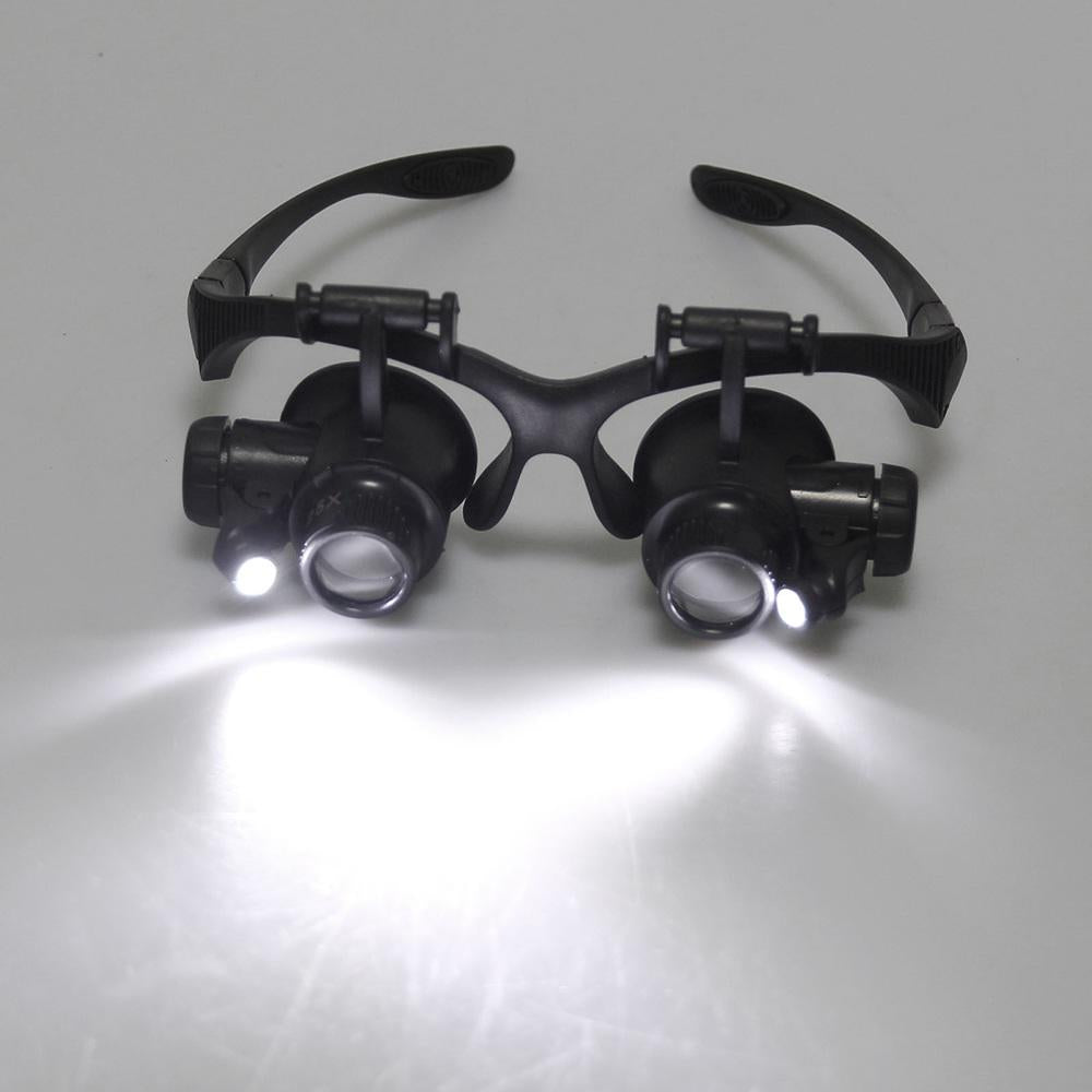 Repair Magnifier Magnifying Lens 10X 15X 20X 25X Led Double Eye Glasses Loupe | Edlpe