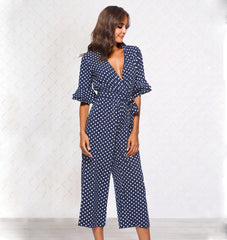 Womens Polka Dot Holiday Wide Leg Pants Long Jumpsuit Ladies V-neck Playsuit