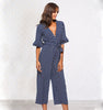 Image of Womens Polka Dot Holiday Wide Leg Pants Long Jumpsuit Ladies V-Neck Playsuit | Edlpe