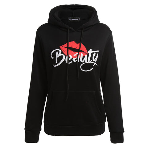 Women Men Couple Clothes Long Sleeve Hoodie Coat Beast And Beauty Print Lover Hooded Sweater | Edlpe