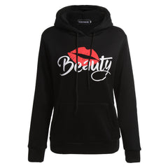Women Men Couple Clothes Long Sleeve Beast and Beauty Print Lovers Wear Hooded Sweater