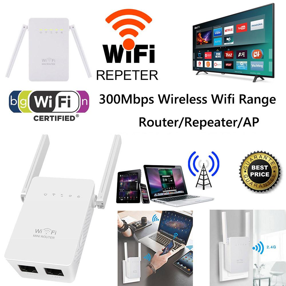 Dual Antenna 300Mbps Wifi Repeater Wireless Range Extender 802 11N Booster