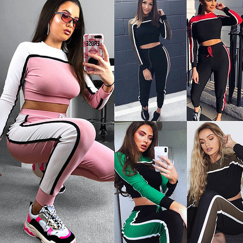 Fashion Women Long Sleeve Striped Crop Top+Pants Casual Sport Suits Sportwear Gym Suit | Edlpe