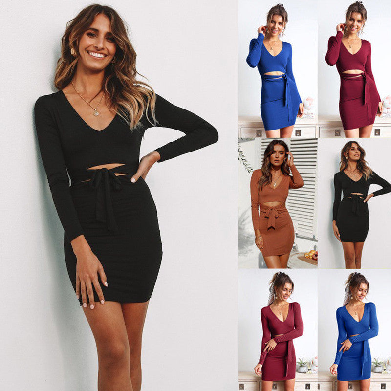 Women Holiday Long Sleeve Crop Top Skirt Set Bodycon Mini Dress Party Dress | Edlpe