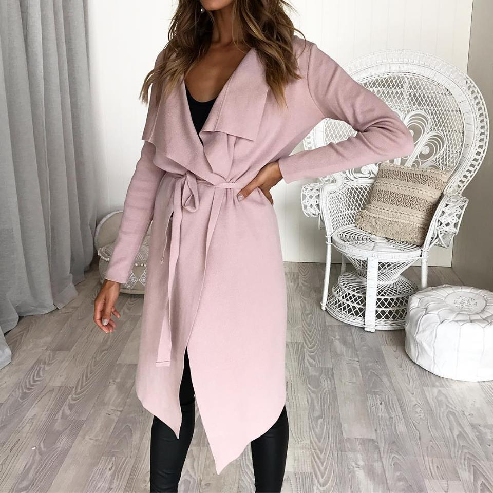 Women Fashion Long Sleeved Irregular Hem Cardigan Lapel Collar Lace Up Casual Coat Outwear | Edlpe